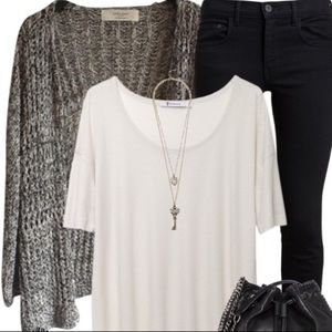 Black and white marled cardigan